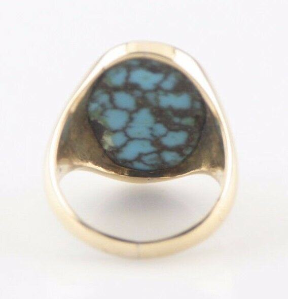 14K Yellow Gold Cracked Turquoise Oval Cabochon Ring Size 5 1/2 Beautiful!