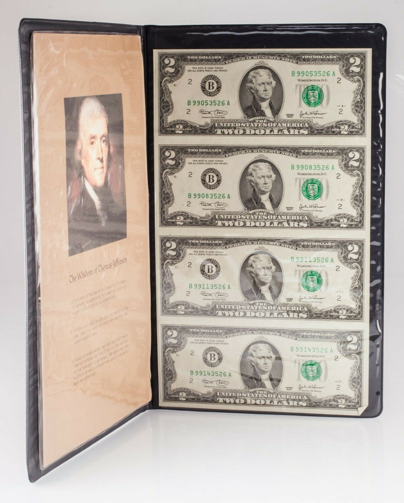 Sheet of 4 Uncut 2003 $2 Notes in World Reserve Monetary Exchange Folder