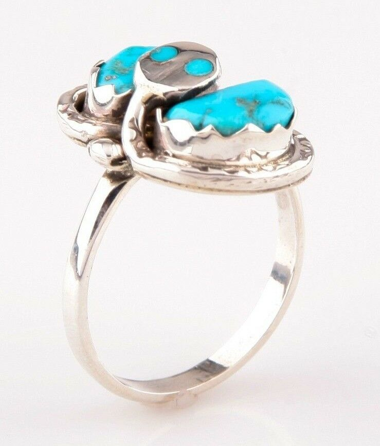 Lady's Effie Calavaza Zuni Turquoise & Sterling Silver Snake Ring, Size 8