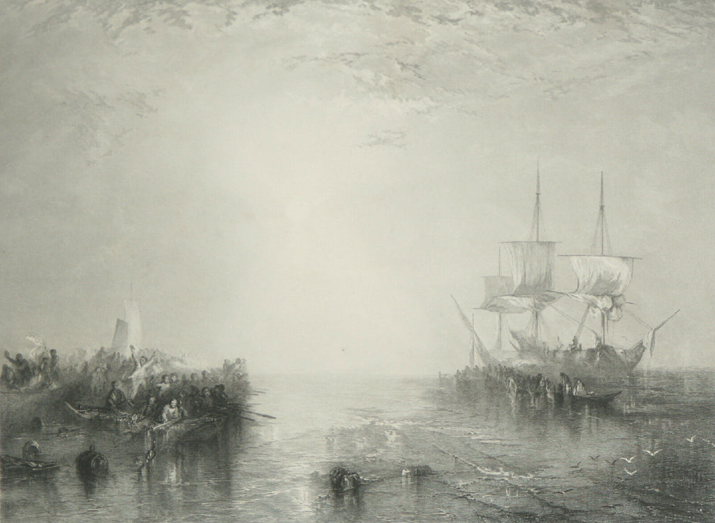 """Whalers"" After JMW Turner Engraving by R. Brandard Framed 14 1/2""x17"""