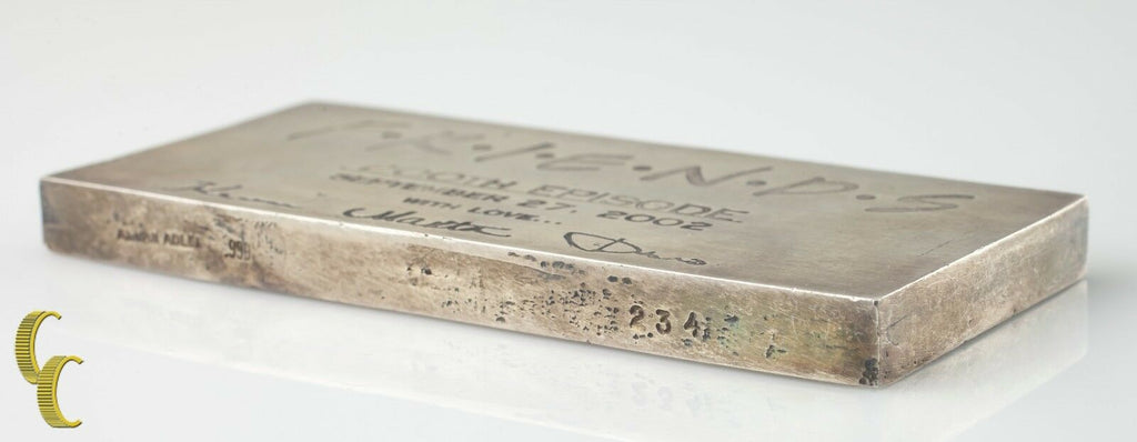 Friends 200th Episode 9.74 oz Fine Silver Bar Allen Adler Collectible Ingot Bar