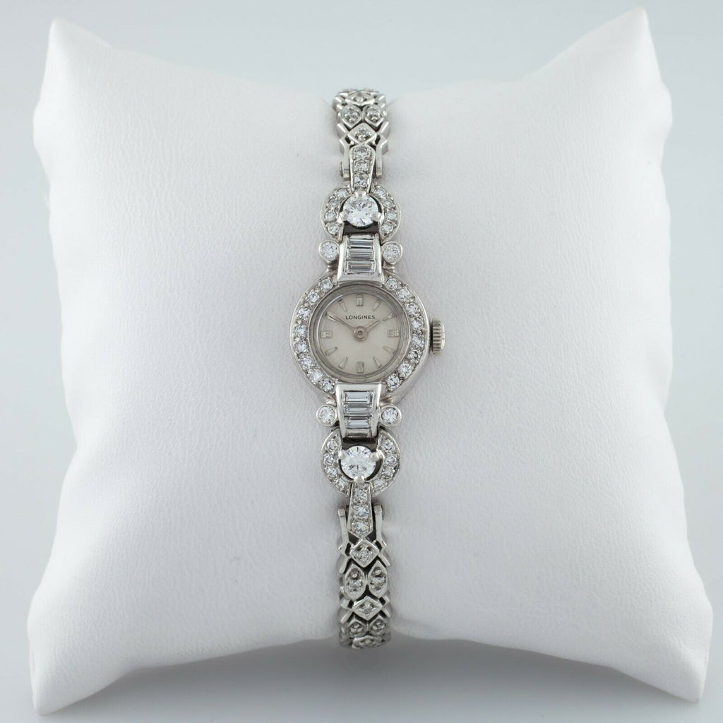 Longines Platinum & 14k White Gold Diamond Women's Dress Watch
