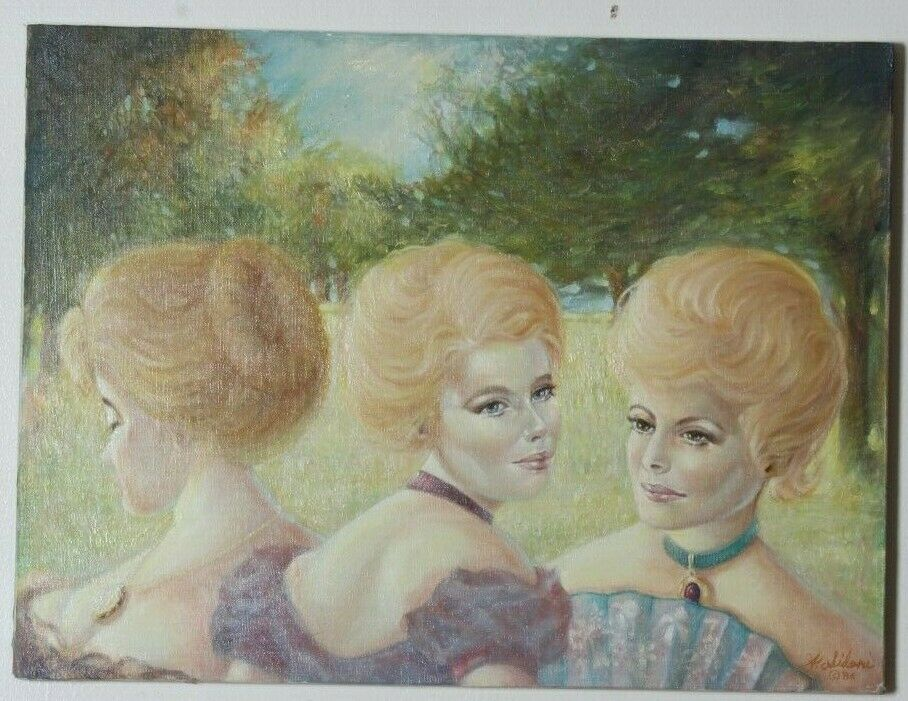 "Untitled (3 Blonde Women) By Anthony Sidoni 1986 Signed Oil on Canvas 18""x24"""