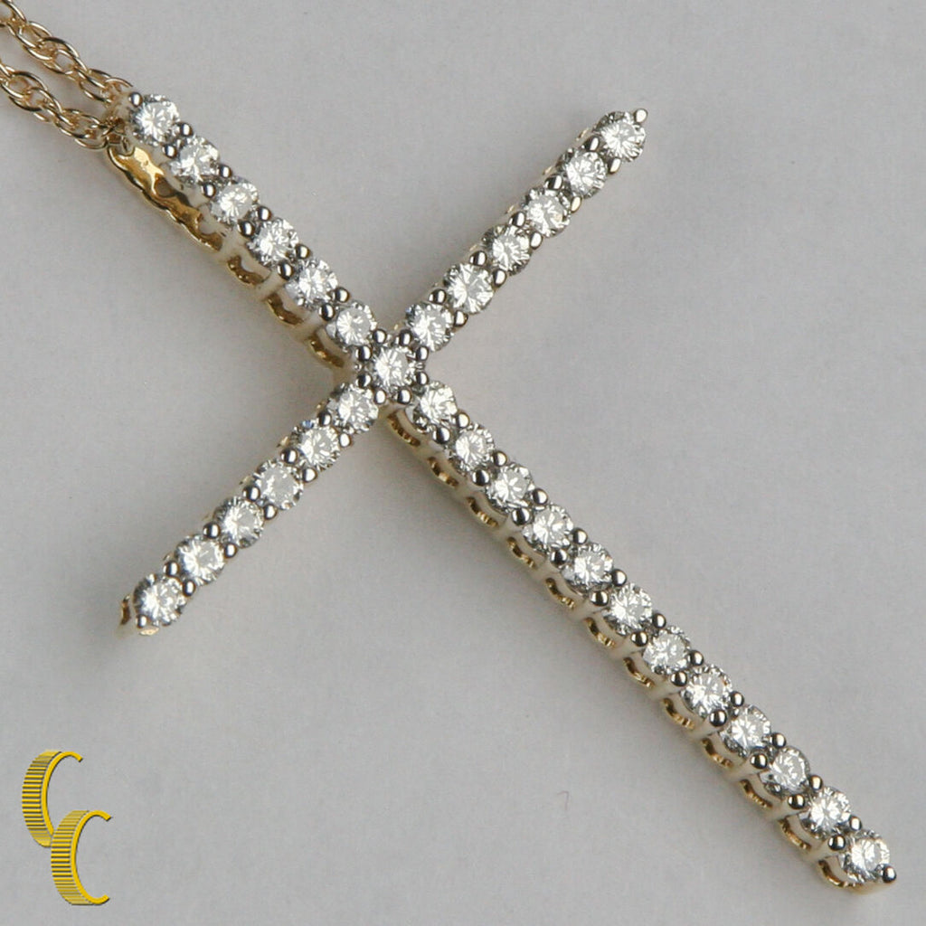 "10k Yellow Gold Diamond Cross Pendant TDW = 0.56"" w/ 20"" Chain"