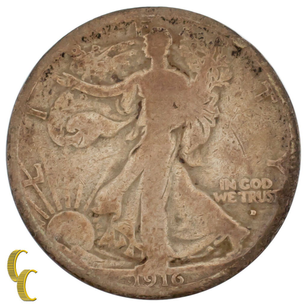 1916-D Silver Walking Liberty Half Dollar 50C (Good, G Condition)