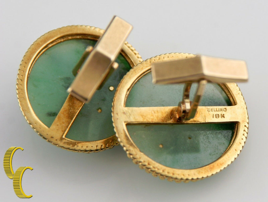 Cellino Imperial Jade 18k & 14k Round Yellow Gold Cufflinks