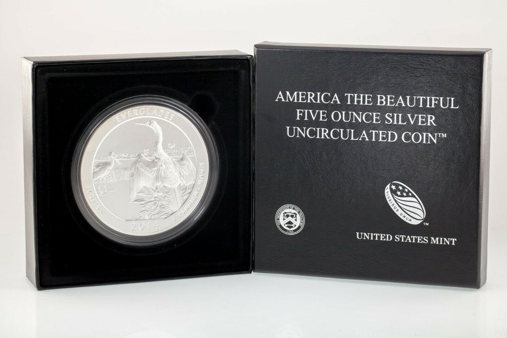 "2014-P 5 Oz. .999 Silver ""America the Beautiful"" Everglades Box CoA ATB Specimen"