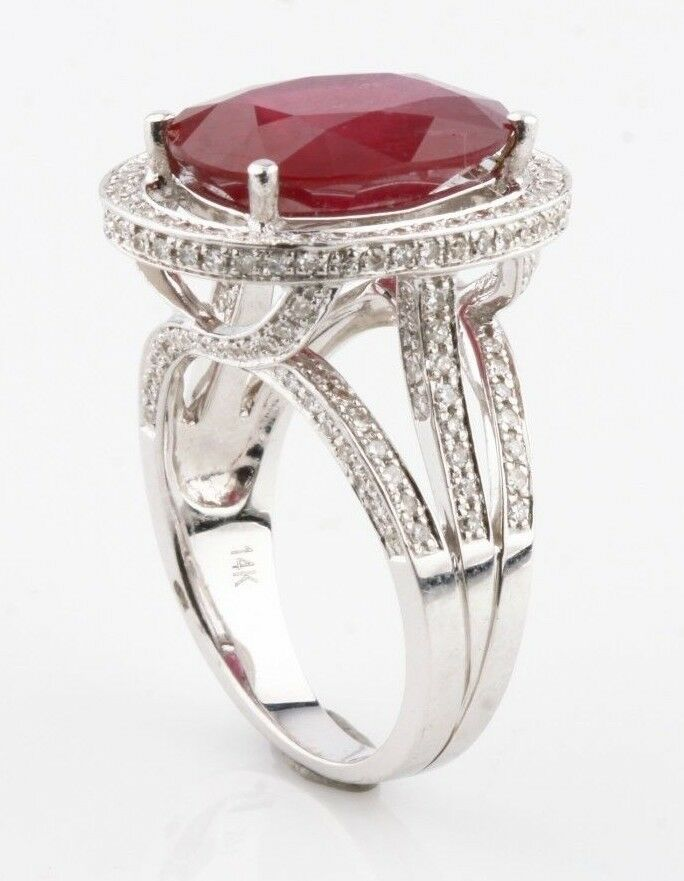 Ruby and Diamond Halo 14k White Gold Cocktail Ring Size 6.75