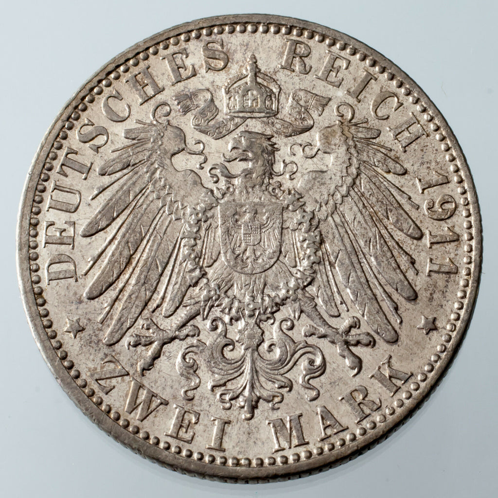 1911-D German States Bavaria 2 Marks 90th Birthday KM #997 XF+/AU