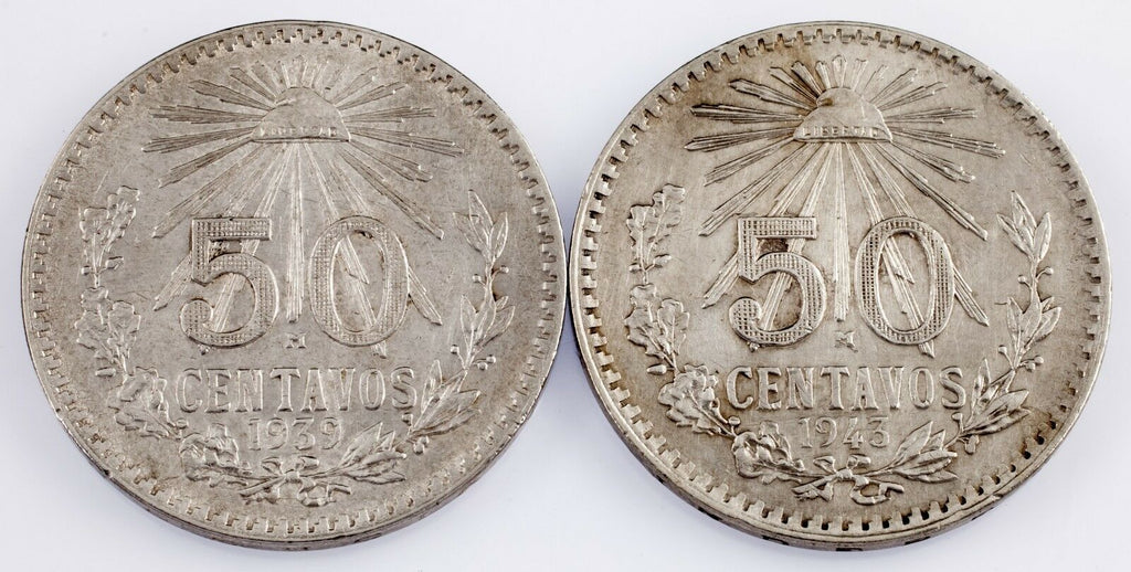 Mexico Lot of 2 Silver 50 Centavos (1939 + 1943) Uncirculated Condition
