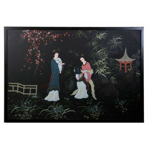 "Untitled (Women in Japanese Garden) Acrylic Painting Framed on Canvas 25""x37"""