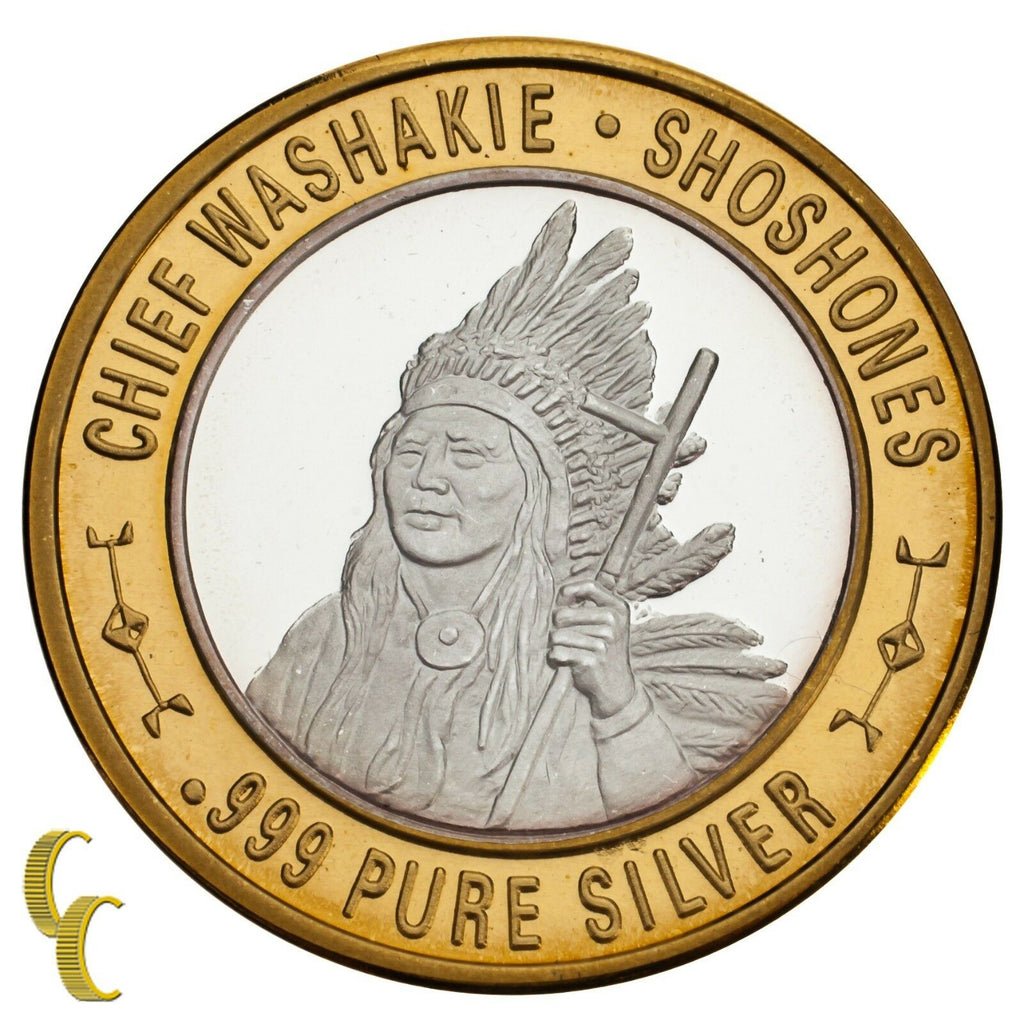 Chief Washakie Shoshones Native American Gaming Token 999 Silver Limited Ed.