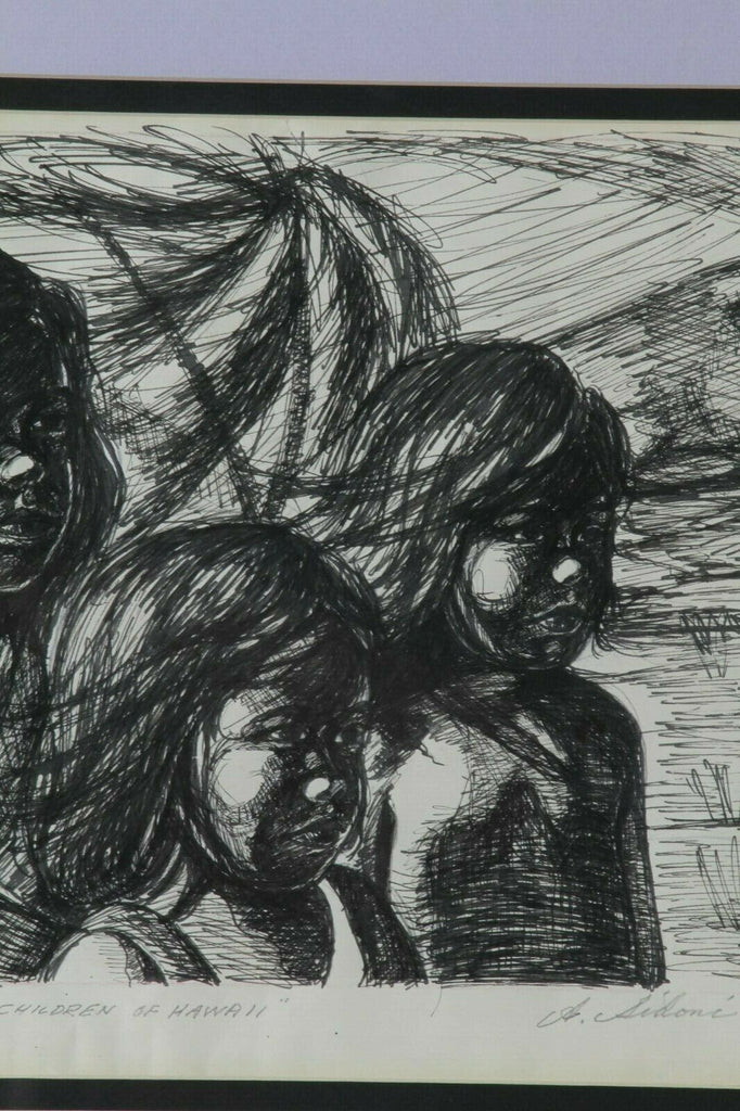 """Children of Hawaii"" by Anthony Sidoni Pen & Ink Study for Oil Painting"