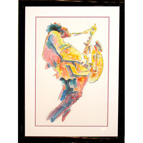 """Jazz Musician"" by Michael Smiroldo Watercolor on Paper"