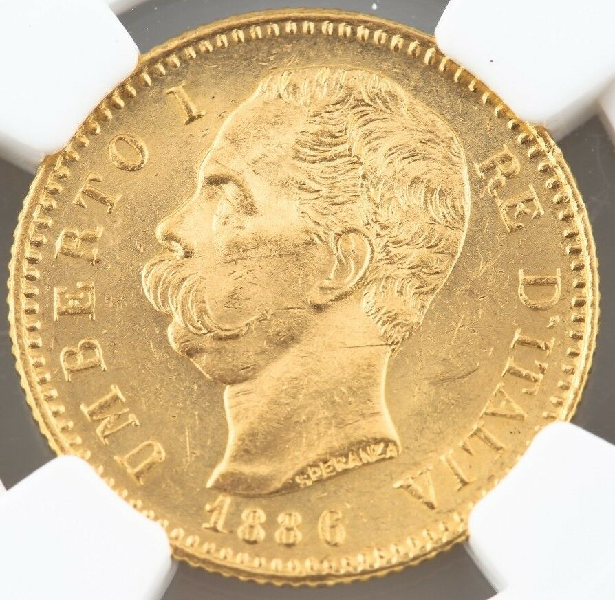 1886-R Italy Gold 20 Lire Graded by NGC as MS-63! G20L Rome Mint