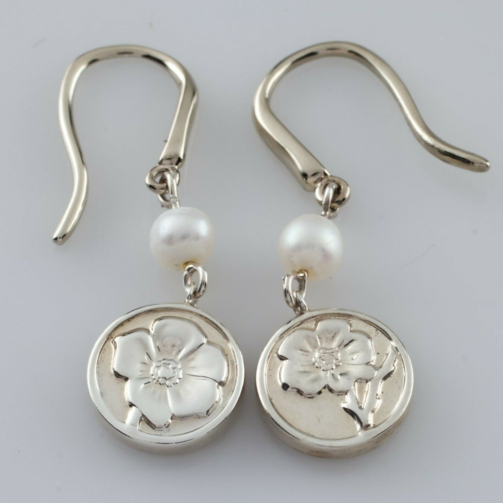 Tiffany & Co. Sterling Silver Nature Rose Pendant and Earring Set Nice!