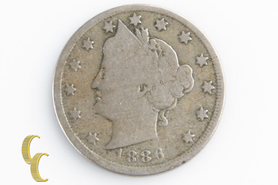 1886 5¢ Liberty Nickel, G Condition, Natural Color w/ Full Rims, 4-Digit Date