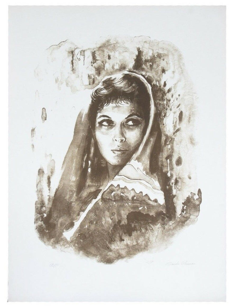 """PORTRAIT OF A WOMAN"" BY SANDU LIBERMAN SIGNED SEPIA LITHOGRAPH AP CoA 30 X 22"