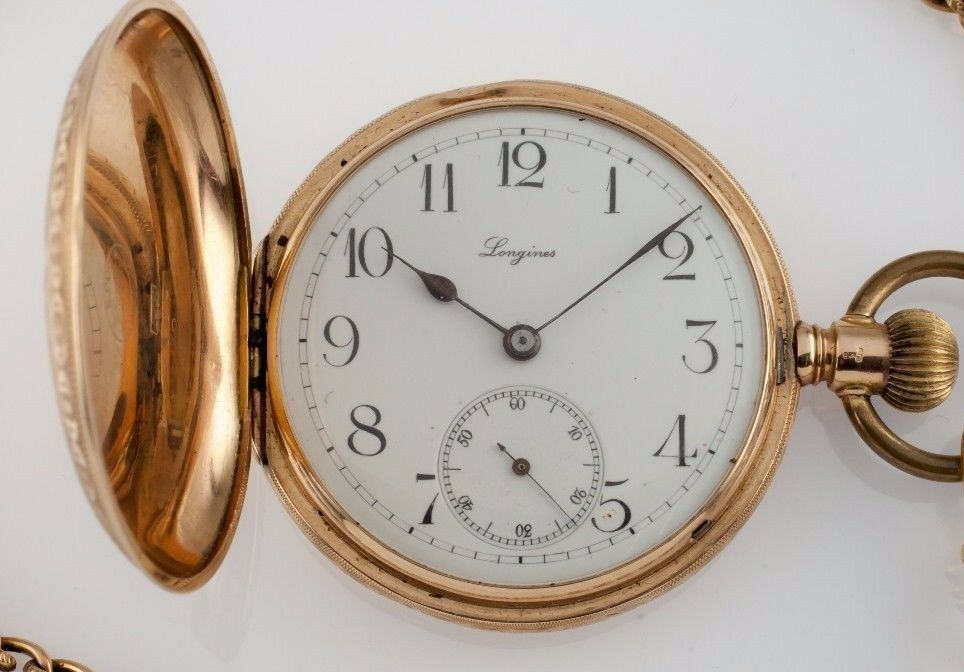 Longines Grand Prix 14k Yellow Gold Full Hunter Pocket Watch Size 13S