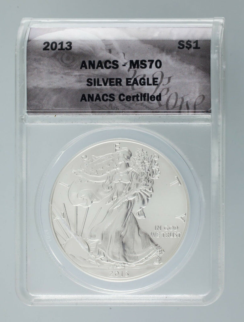 2013 1 Oz. Silver American Eagle Graded by ANACS as MS-70