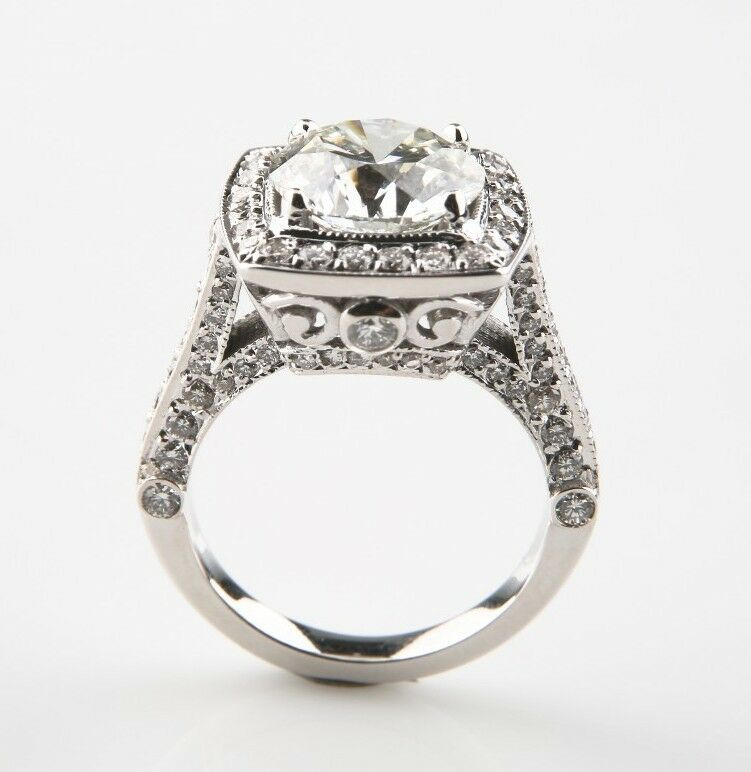 3.05 carat Round Brilliant Diamond 14k White Gold Engagement Ring GIA Certified