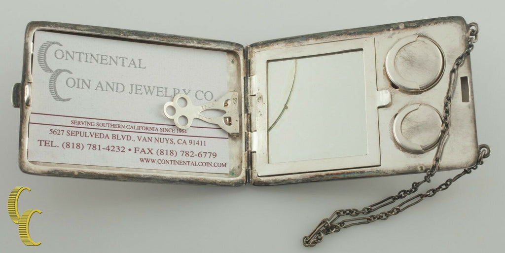 Antique Silverplate WM & Co Vanity Compact Card Holder w/ Chain Nice Detail!