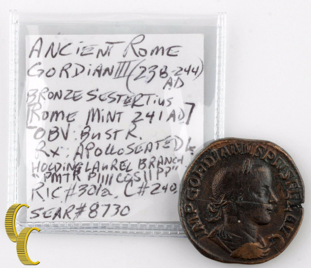 "241 AD Gordian III AE Sestertius (VF+) Apollo Seated ""PM TRP IIII COS II PP SC"""