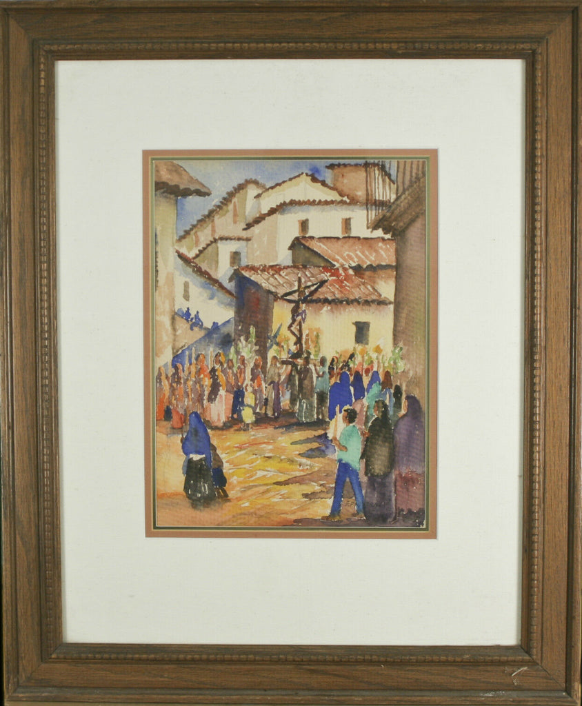 "Fidel Figueroa Crucifixion Scene Signed Watercolor Framed 23 1/2""x19 1/2"""