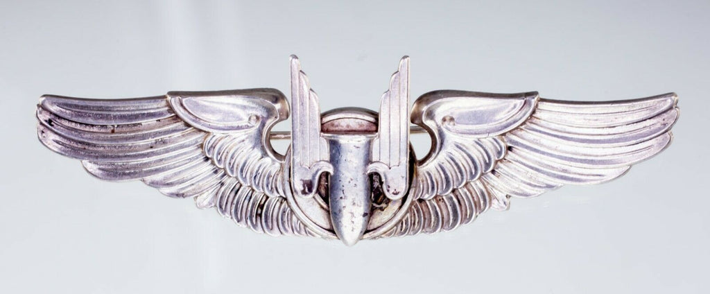 Sterling Silver WWII Vintage Aerial Gunner Wings Pin Historic