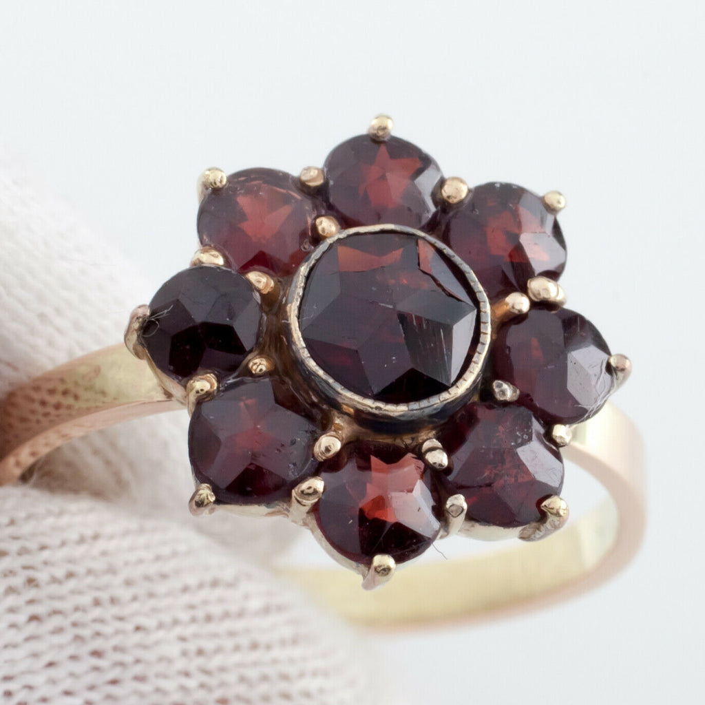 14k Yellow Gold Cushion Cut Garnet Ring w/ Bezel Size 8.25 H&A Germany