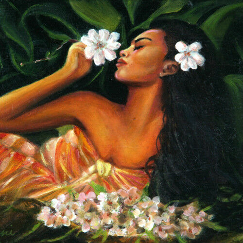 """Tahitian Beauty w/ Flowers"" By Anthony Sidoni Signed Oil on Canvas"