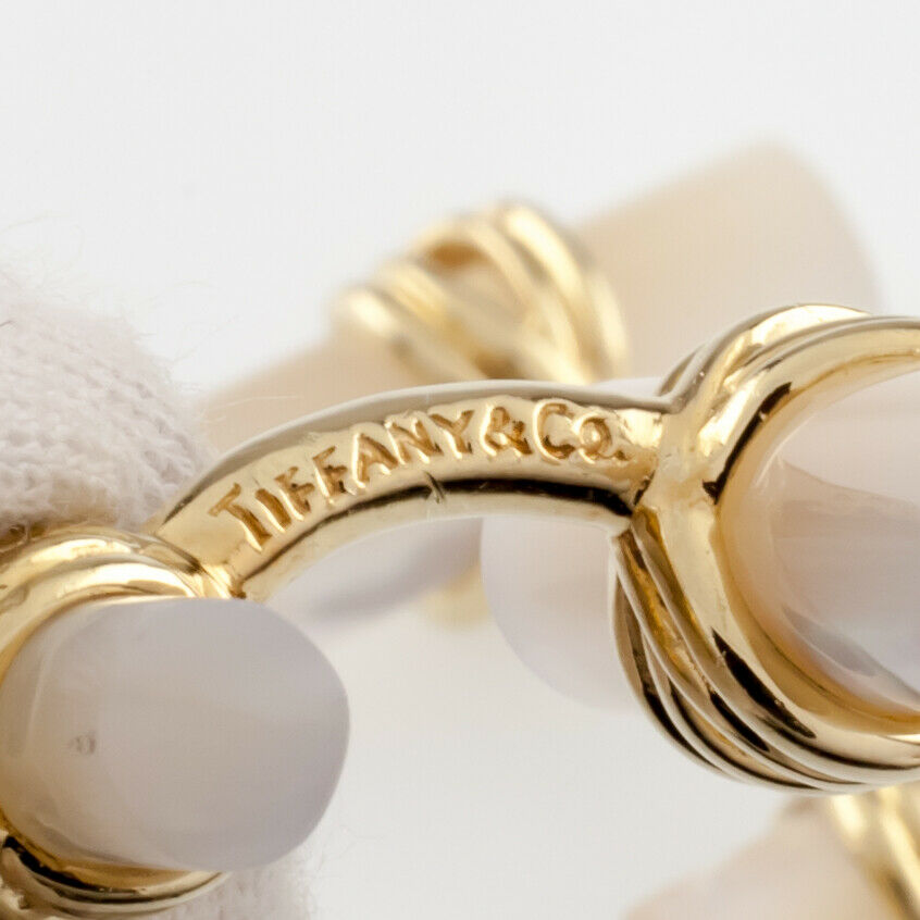 Tiffany & Co. 18k Yellow Gold Mother of Pearl Cufflinks w/ Box and Pouch