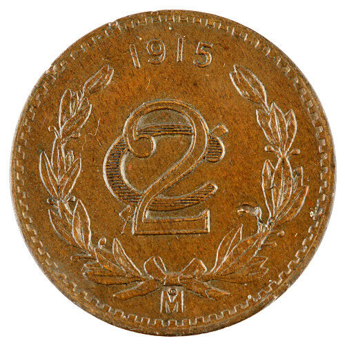 Mexico 1915 2 Centavos Almost Uncirculated Mexican Bronze Coin AU