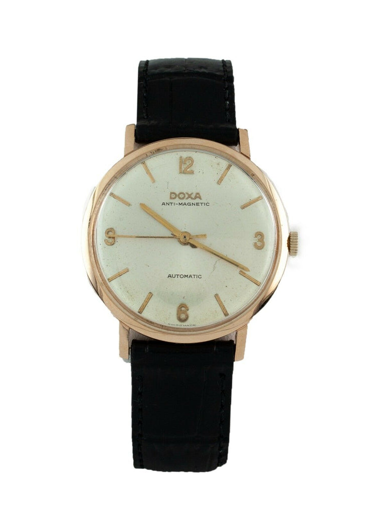 Doxa 14k Rose Gold Anti-Magnetic Automatic Watch w/ Black Leather Band