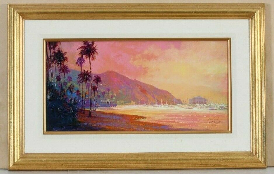"""Morning Haze Catalina"" by Simon Bull Giclee on Canvas LE Oil Sketch on Verso"