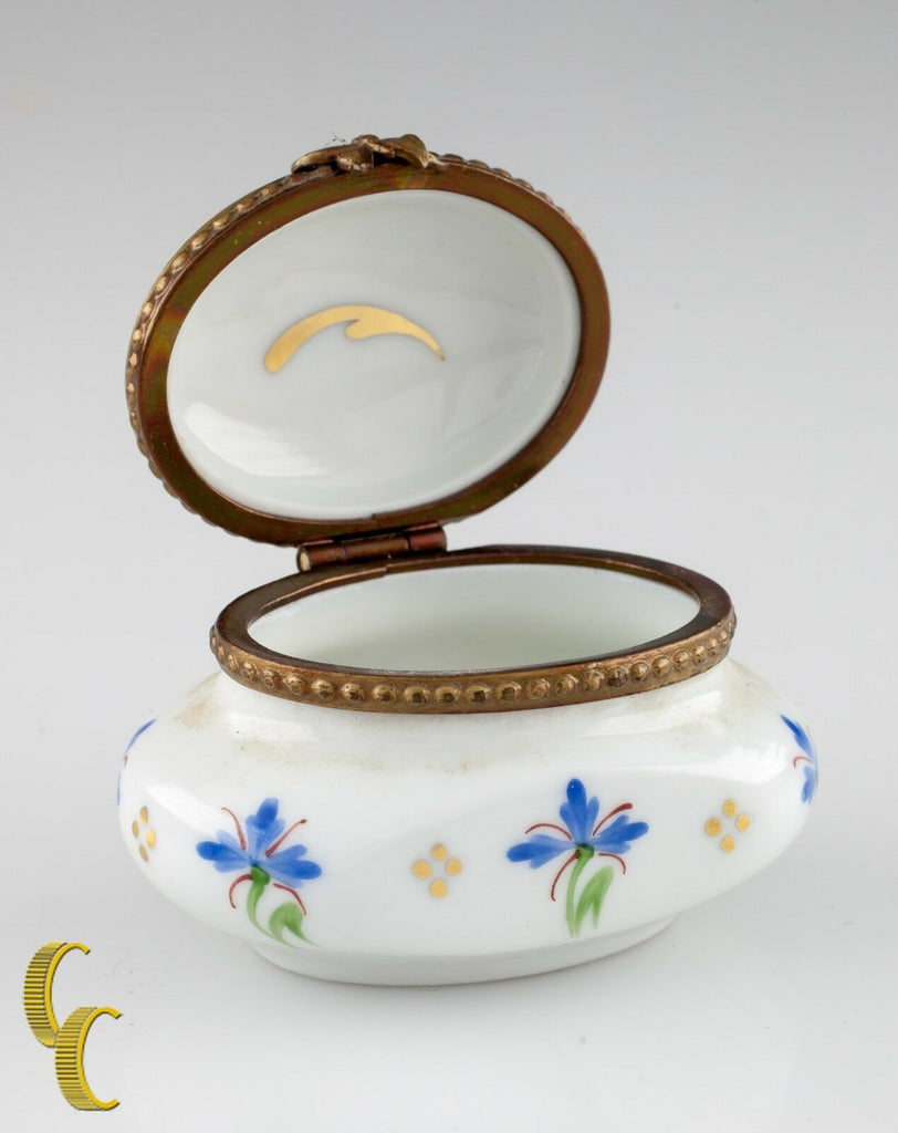 Small Limoges Peint Main Porcelain Honey Pot Ink Well Trinket Box