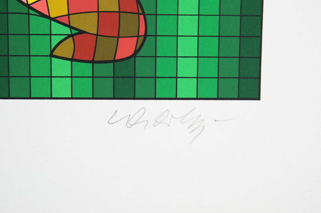 """Golfer"" By Victor Vasarely Signed Limited Edition of 300 Silkscreen 14 1/2""x18"""