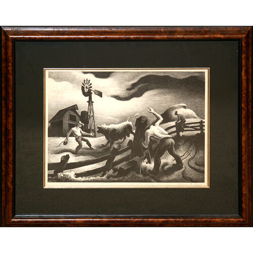 """Photographing the Bull"" by Thomas H. Benton Lithograph 1950 LE of 500 Signed #d"