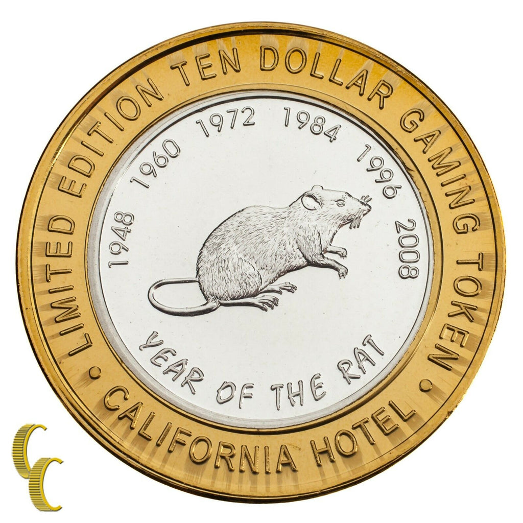 Sam Boyd's California Hotel $10 Casino Gaming Token Year of the Rat .999 Silver