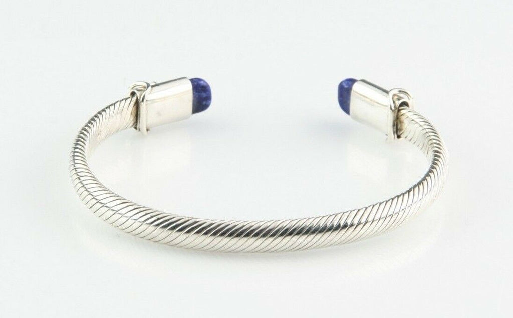 "Sterling Silver Cable Cuff Bracelet w/ Lapis Accents 7"" Long 6 mm Wide 29.0 g"