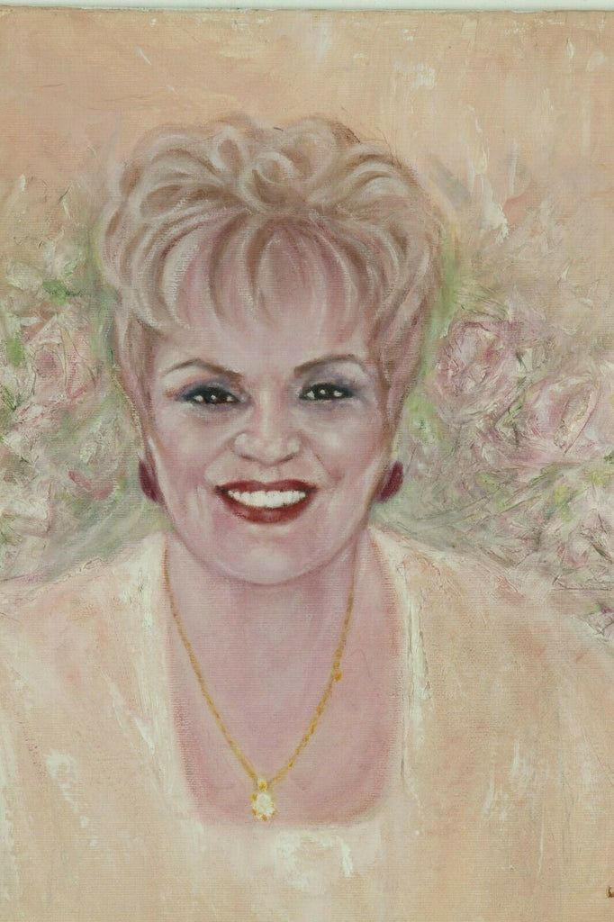 Untitled (Smiling Blonde Woman) By Anthony Sidoni 2004 Signed Oil Painting 14x18