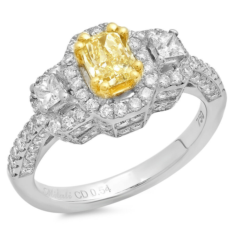 18k Two Tone Gold Fancy Yellow Cushion Diamond Ring w/ Accents TDW = 1.55 ct