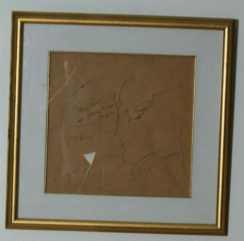 Signed Doodle on Kraft Paper by Peter Max in Frame Original Sketch