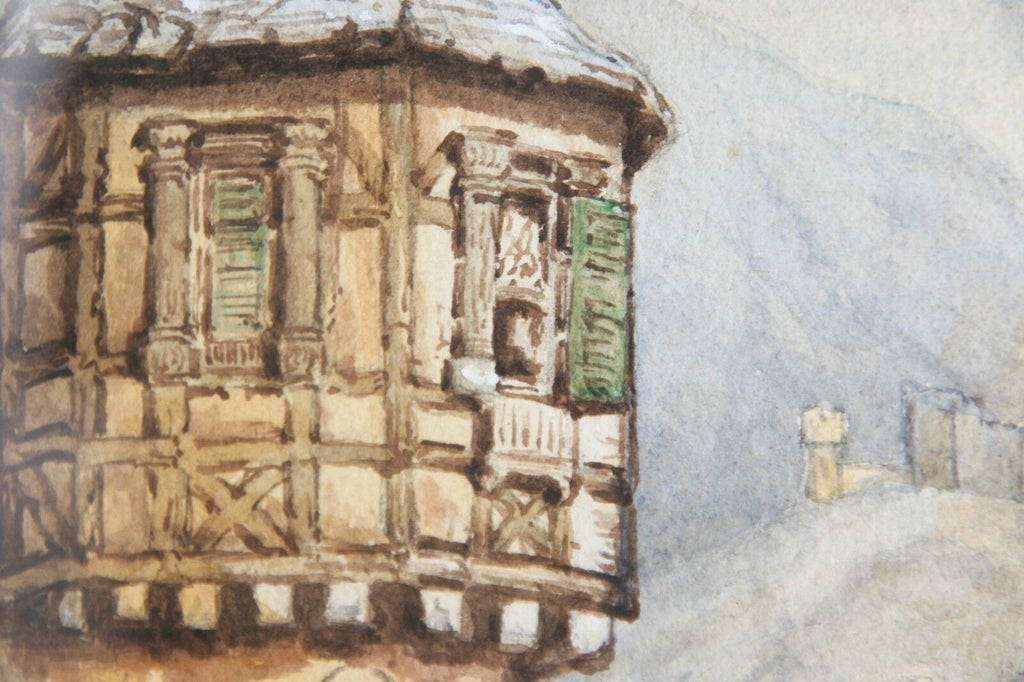 "Untitled Medieval House by Lake Watercolor on Paper Unknown Artist 10.5"" x 7.5"""
