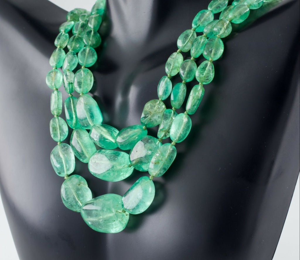 Polished Emerald 400 Carat Three-Strand Necklace with Diamond 14k Gold Clasp