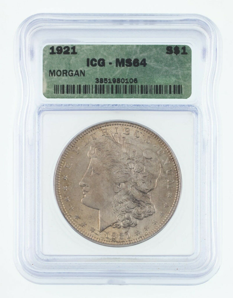 1921 $1 Silver Morgan Dollar Graded by ICG as MS-64! Gorgeous Morgan!