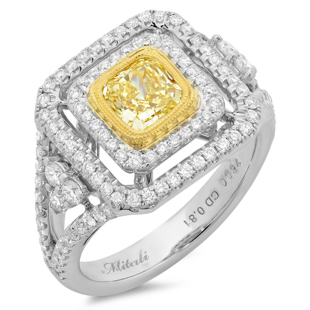 Fancy Yellow Cushion Cut Diamond 18k Two Tone Gold Halo Cluster Ring Size 6.75