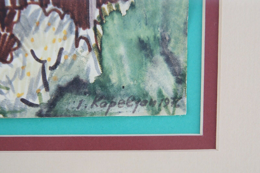 Untitled (Study of Houses) by Joseph Kapelyan Marker on Paper Signed & Dated
