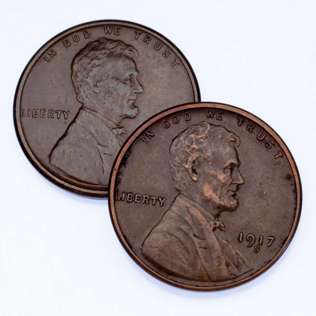 Lot of 2 Lincoln Cents (1916-S and 1917-S), XF Condition, All Brown Color