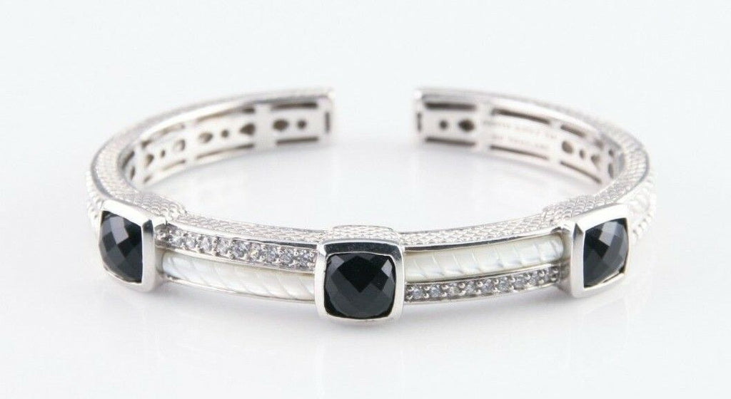 Judith Ripka Sterling Silver Onyx, Mother-of-Pearl and CZ Hinged Cuff Beautiful!